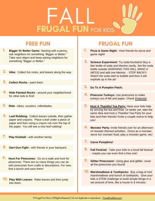Ultimate Guide To Frugal Fun For Kids Fall | Frugal Fun Mom