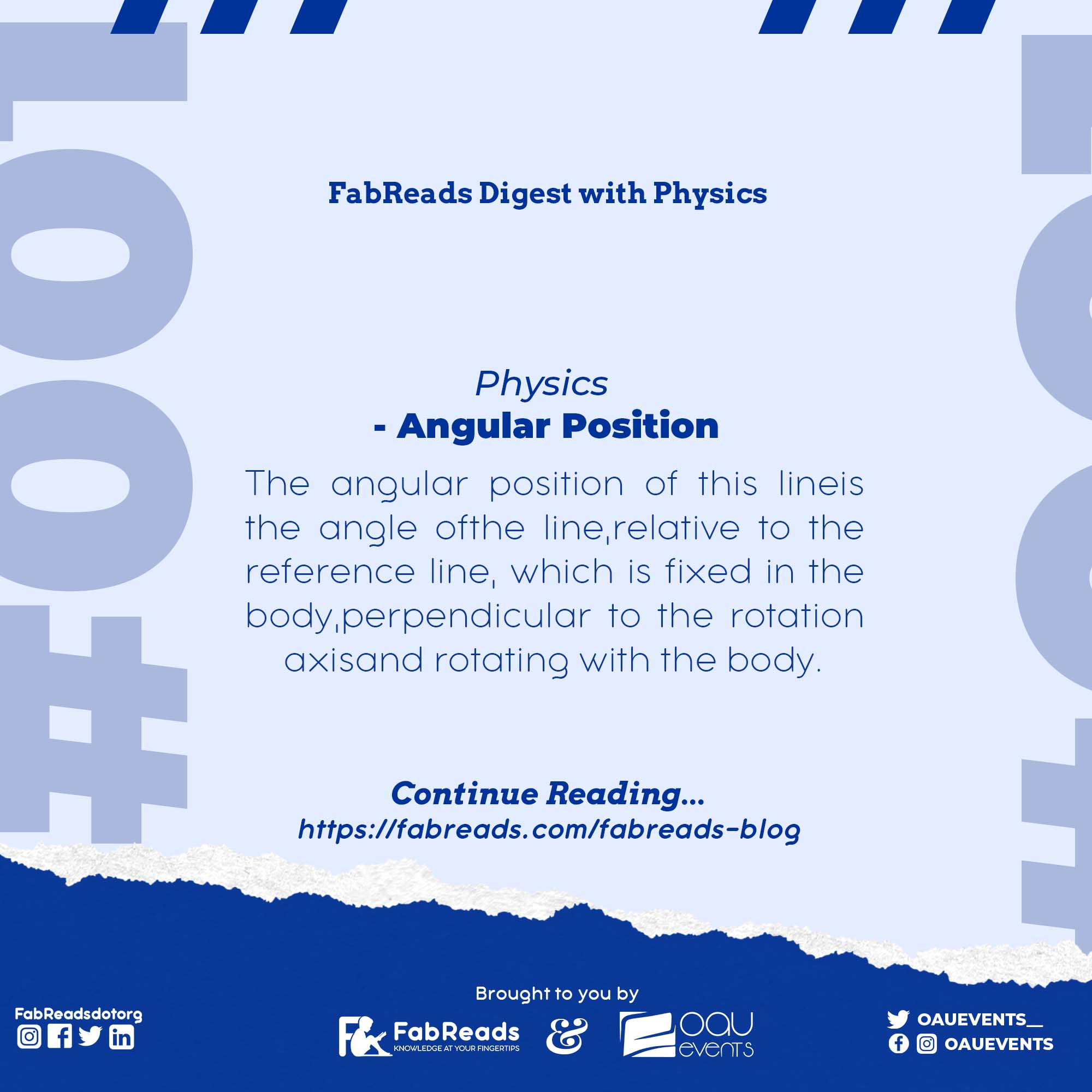 FabReads Digest with Physics 001 (Angular Position)