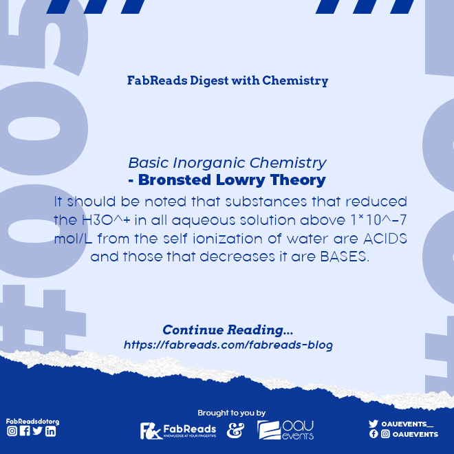 FabReads Digest with Chemistry – 005 (Bronsted Lowry Theory)
