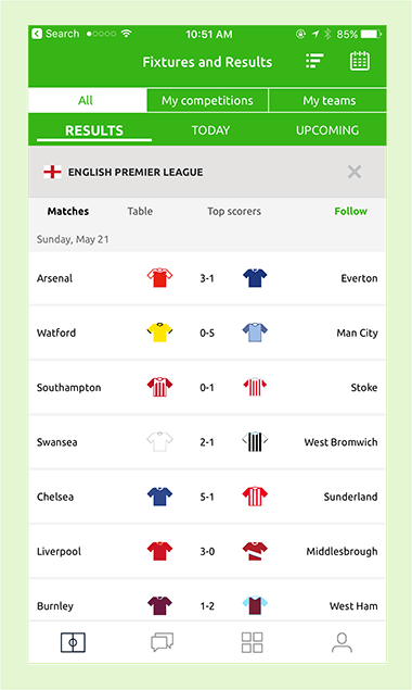 Pundit Club app Match schedule
