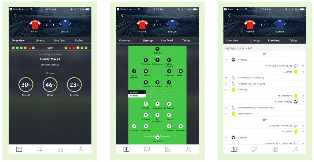 Pundit Club app Match Screens