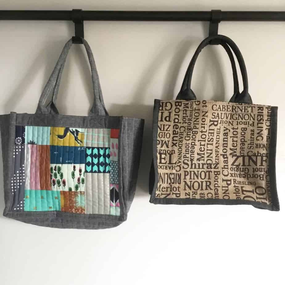 Flexi Tote PDF Sewing Pattern - Small tote, project or lunch bag with options for pocket, quilting and zip closure by fabricandflowers | Sonia Spence