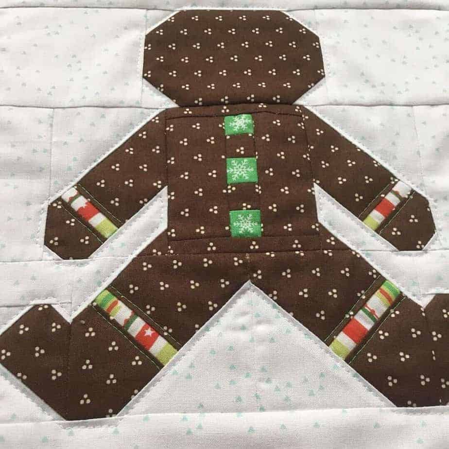 Gingerbread Man Christmas wall decoration with details on how to add embroidered words by fabricandflowers | Sonia Spence