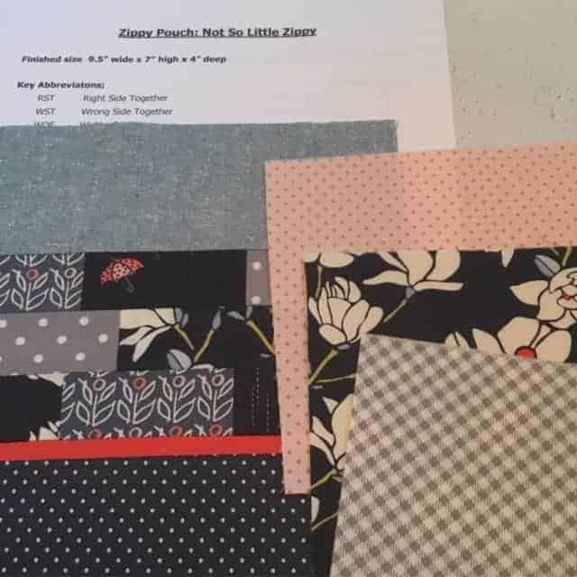 Zippy Pouch Along – constructing the zip band, lining and pocket sides