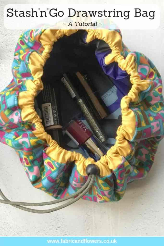 The StashnGo drawstring bag tutorial by fabricandflowers | Sonia Spence