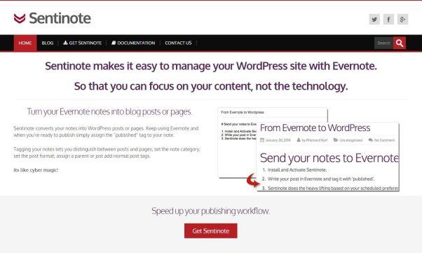 Sentinote : pour publier depuis Evernote