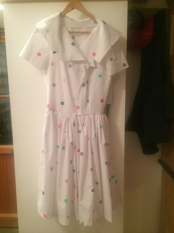White 1950s sailor collar dress made from hand printed fabric