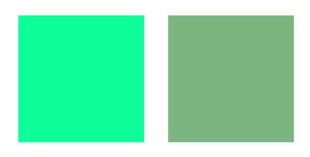 Two shades of green - first is bright, second is muted