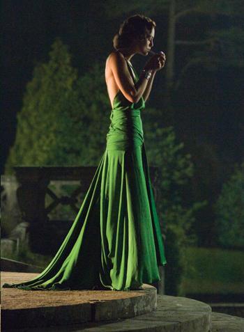 Green silk satin evening gown