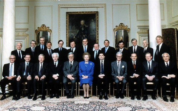 Mrs Thatcher and her all male cabinet