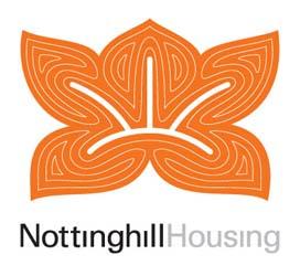 Orange Lotus leaf design logo of Notitng Hill Housing