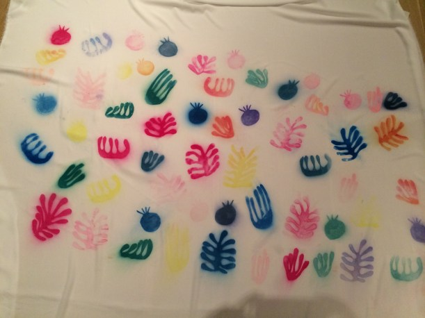 Polyester printed with Matisse like cut outs