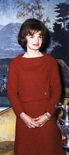 JK 5 December 1961 in Red Chez Ninon dress