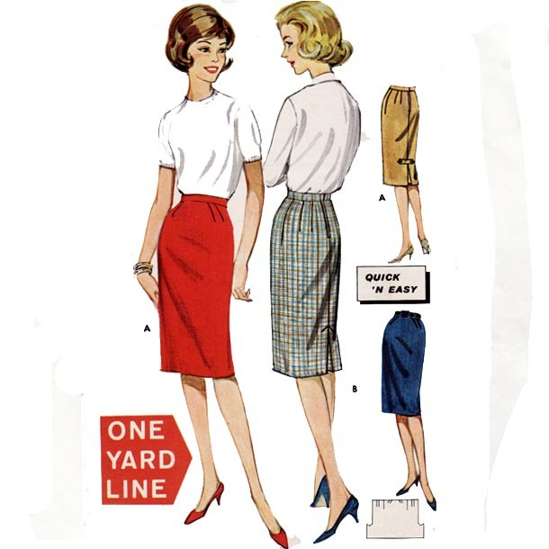 Vintage straight skirt pattern
