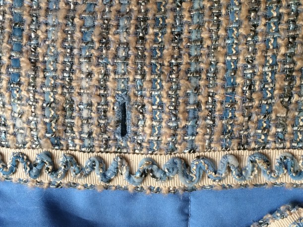 Hand worked button hole on Chanel style jacket