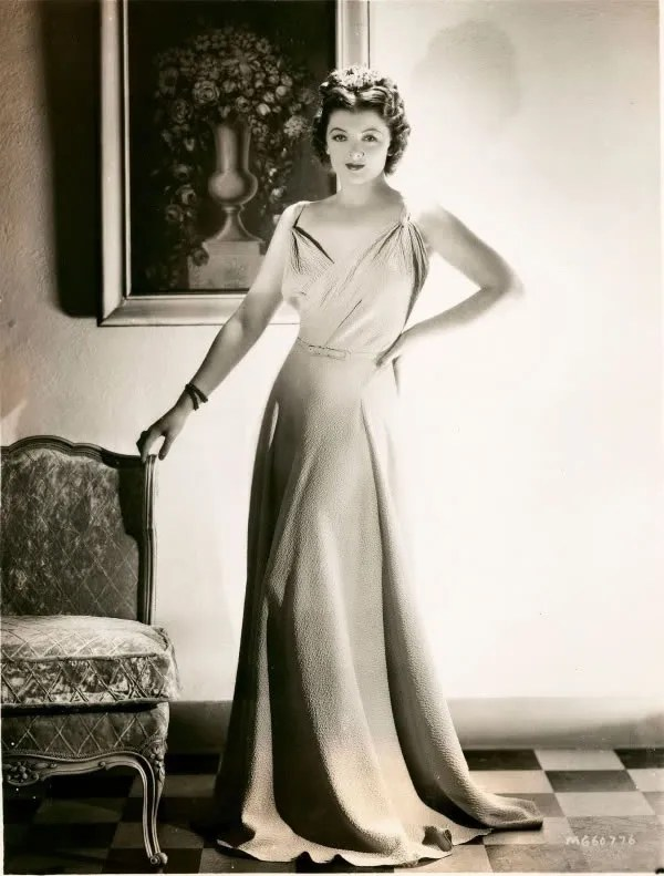 Myrna Loy in bias cut dress 1930s