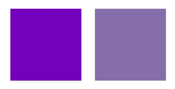 Bright and muted purple swatches