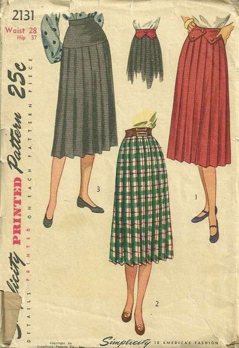 Vintage pleated skirt pattern
