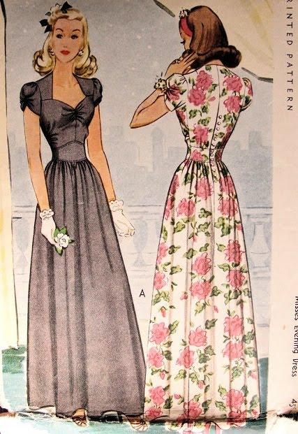 vintage 1940s evening dress pattern