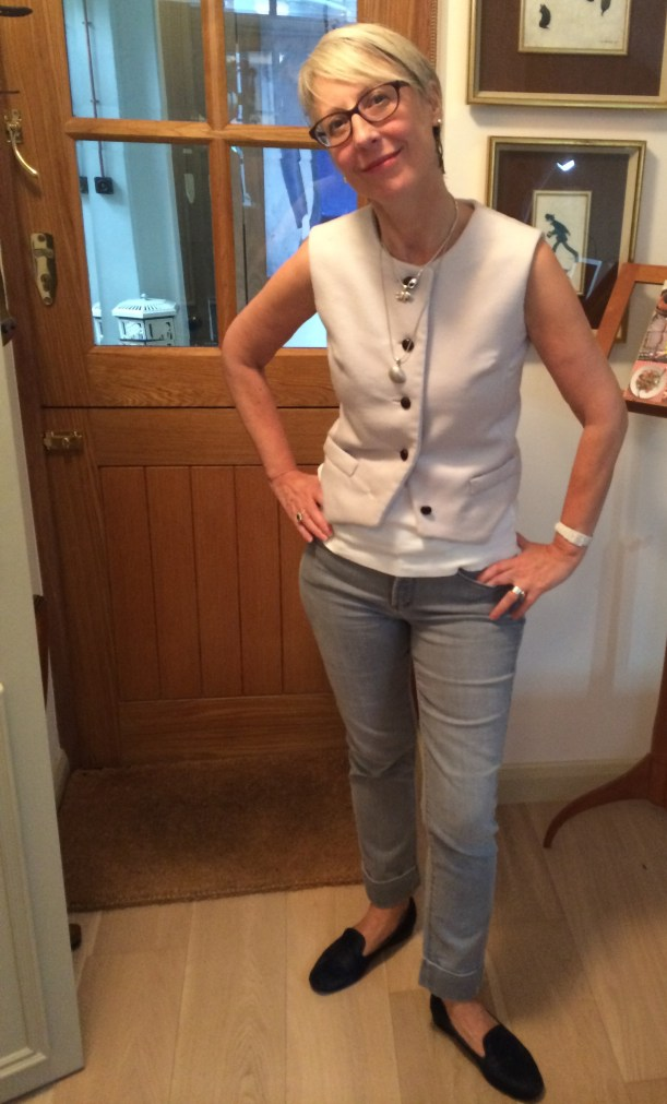 KD in waistcoat and jeans
