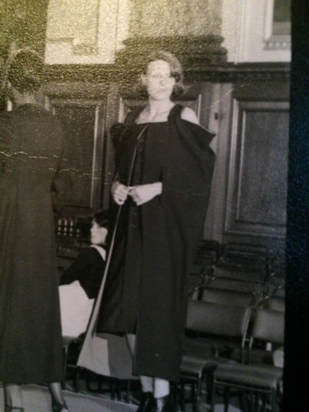 black dress from 1970s fashion show
