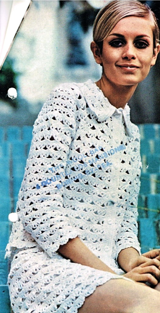 Twiggy in crocheted 1960s dress