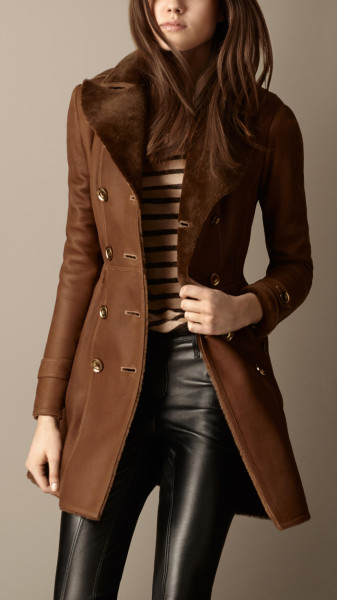 Reddish brown Burberry fitted shearing coat