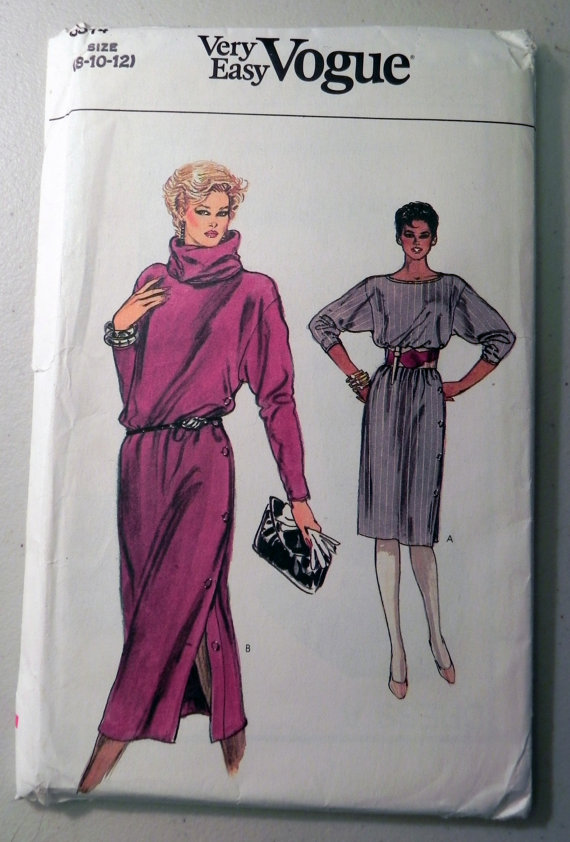 Vogue pattern for pullover dress 1980s