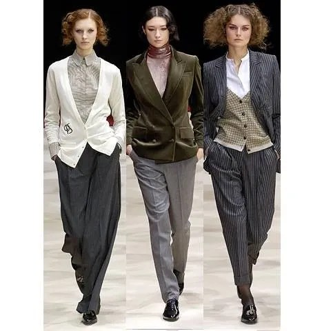 Three women in menswear