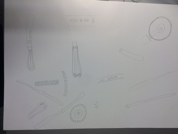 drawing of kitchen utencils