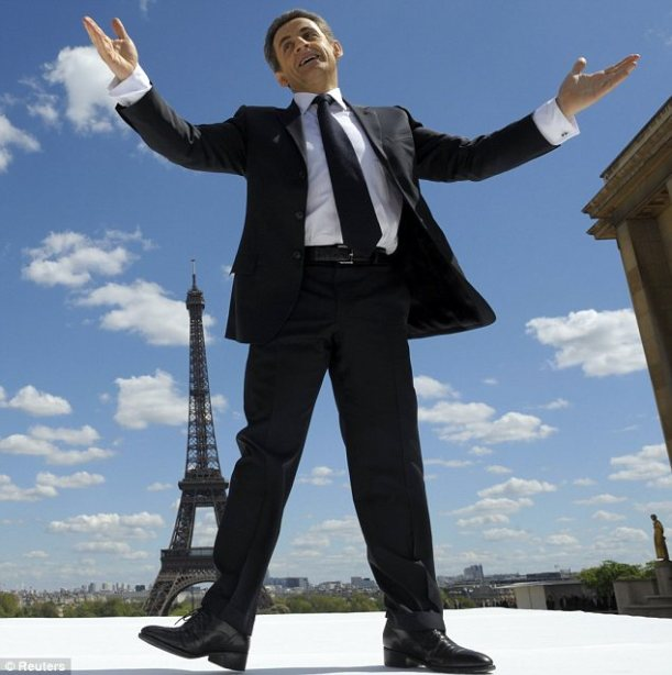 Sarkozy with Eiffel tower