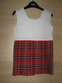 red girls kilt attached to a white bodice