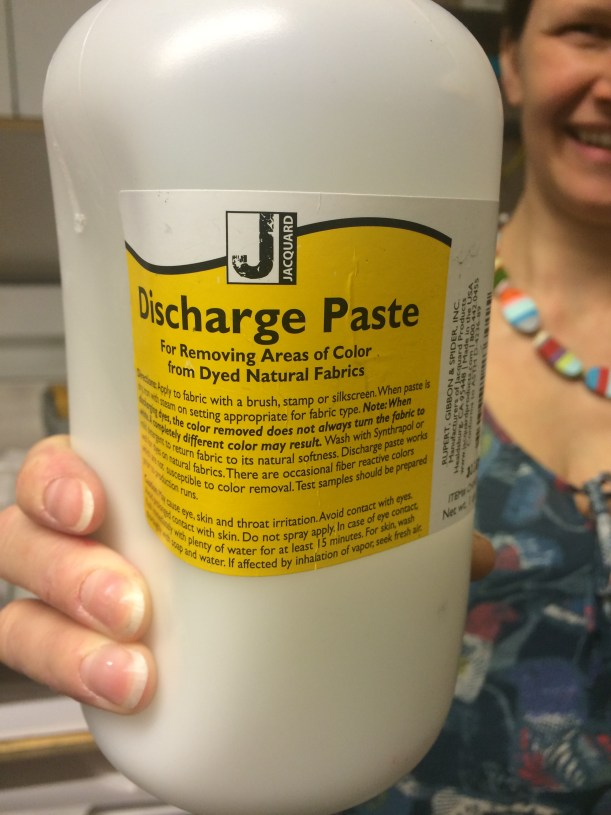 Large jar of discharge paste for bleaching fabric