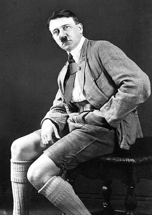 Adolf in leather shorts