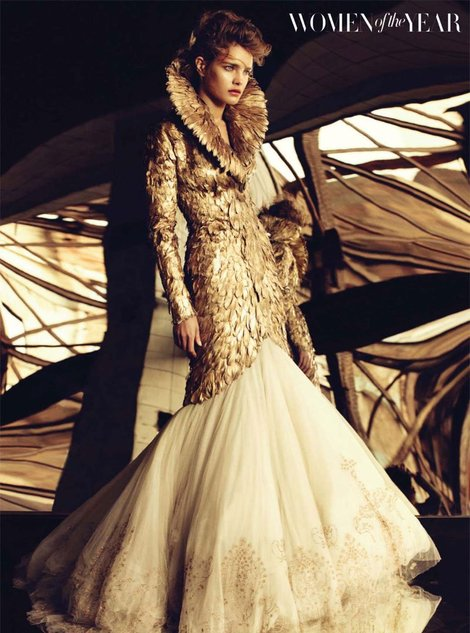 Gold Feather coat Alexander McQueen