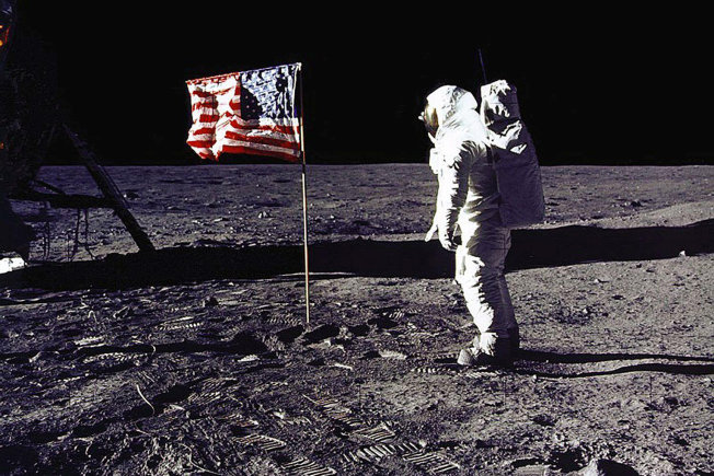 1969: Buzz Aldrin in space suit