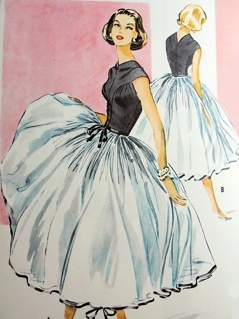 Vintage dressmaking pattern illustration
