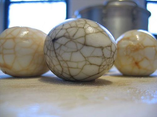 tea dyed eggs in the shell