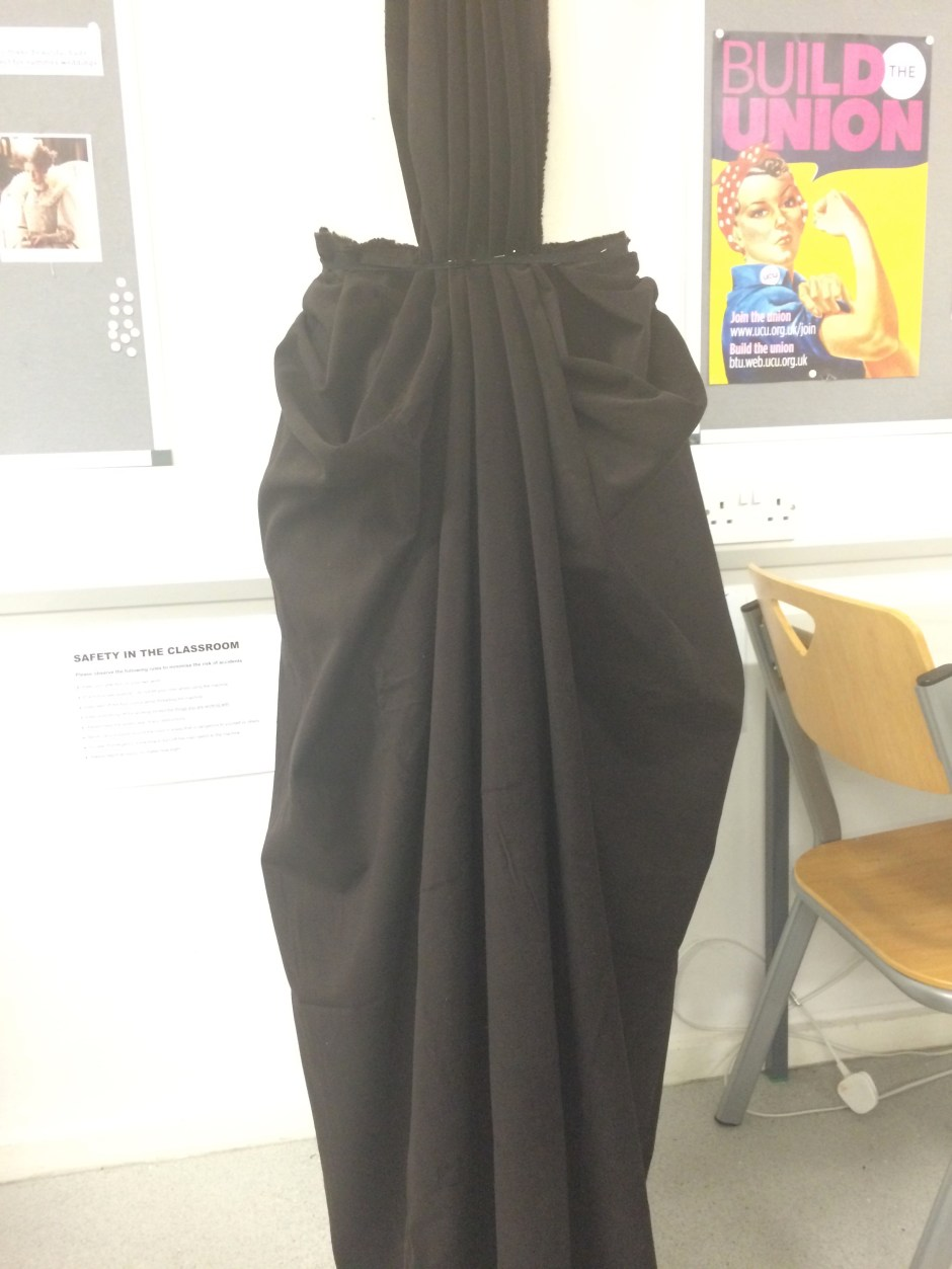 Draping on the stand bustle skirt