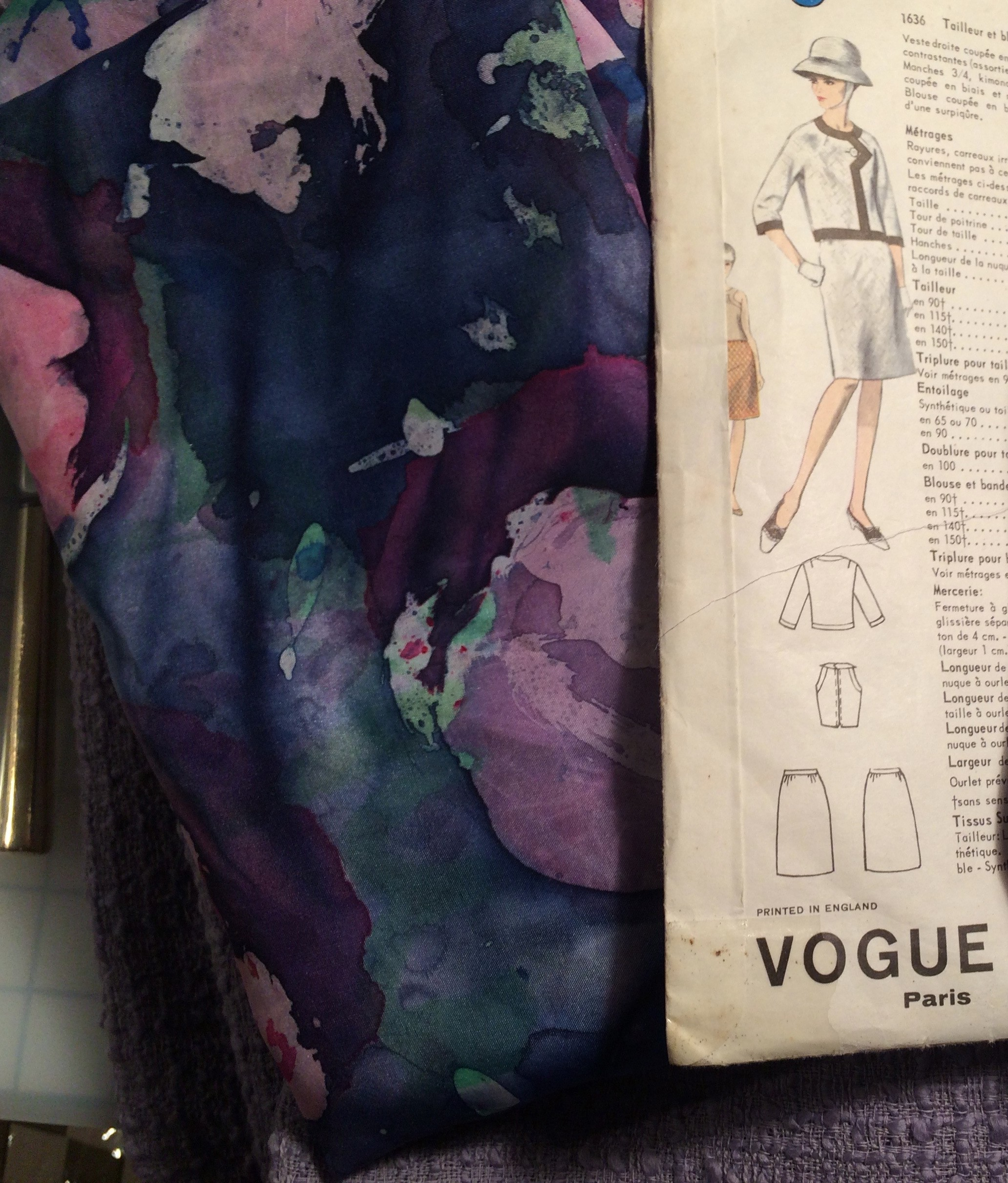 Vogue 1636 + purple hand painted silk
