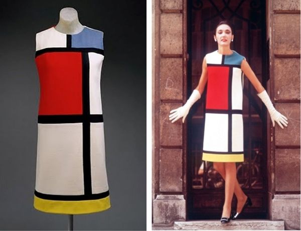 YSL five colour Mondrian dress