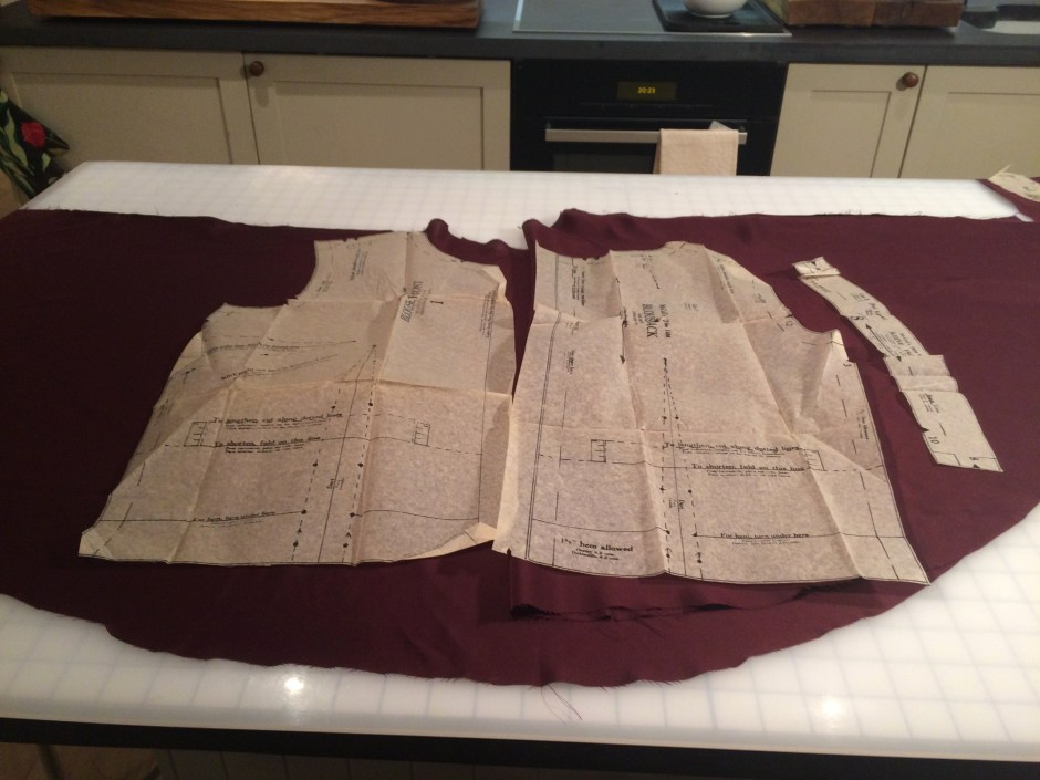 Cutting out a blouse pattern