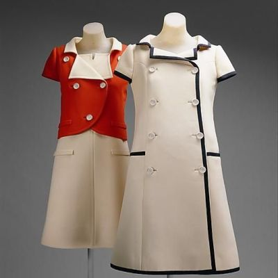 Courreges double breasted bound coat