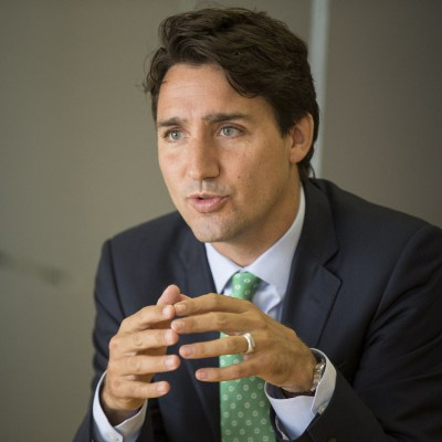 Trudeau with a nice green tie
