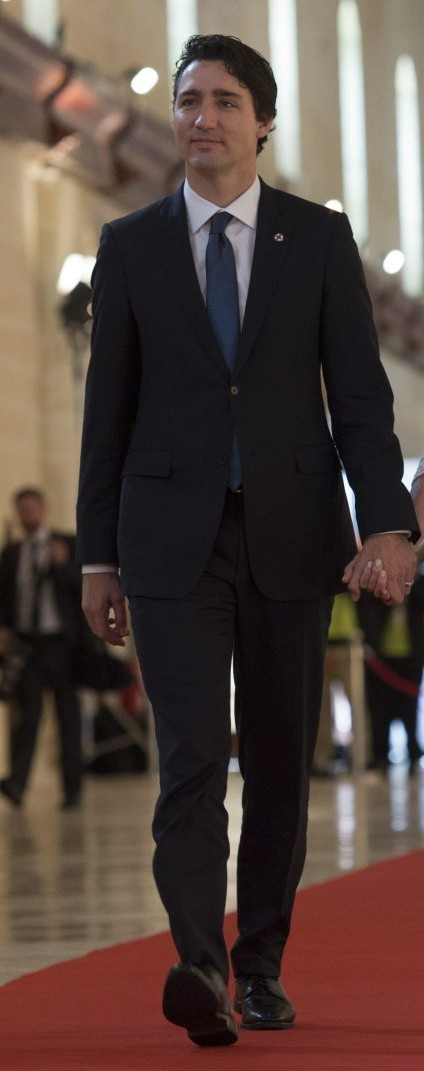 Trudeau in smart dark suit