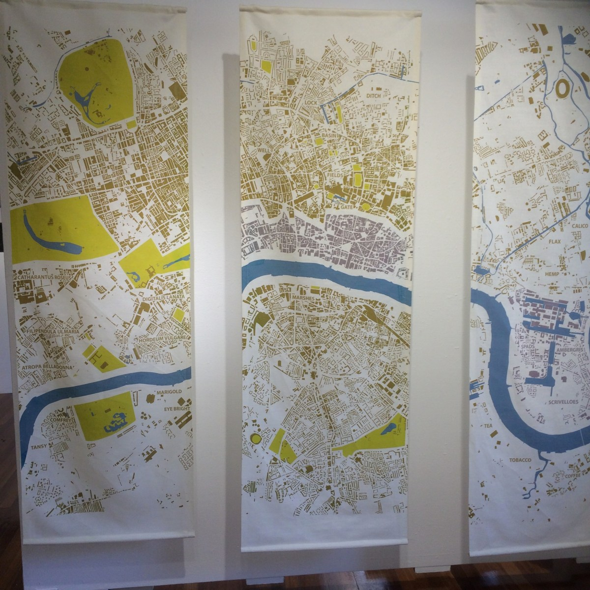 Screen printed map of the River Thames