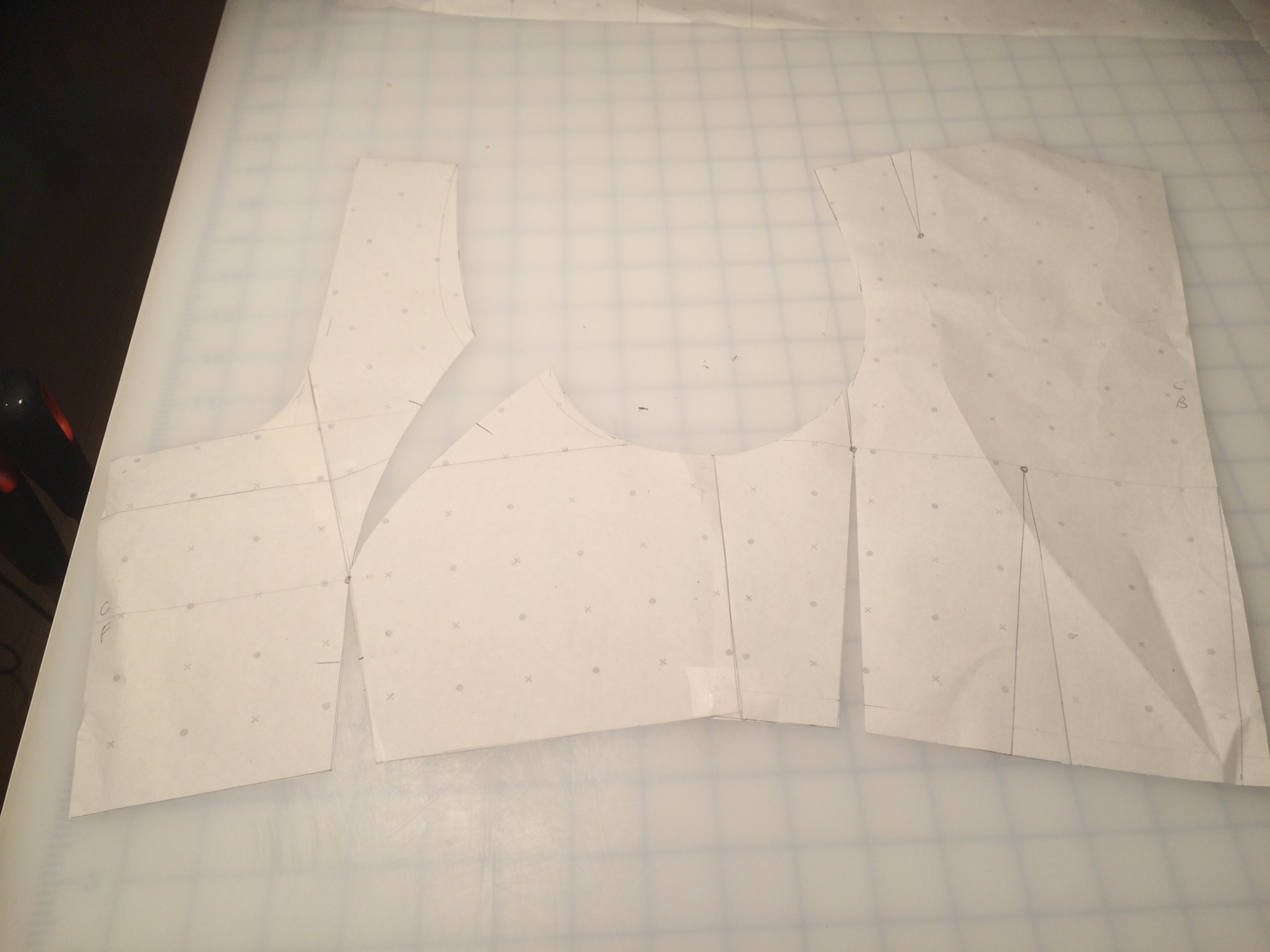 Joining the two side bodice panels to make one