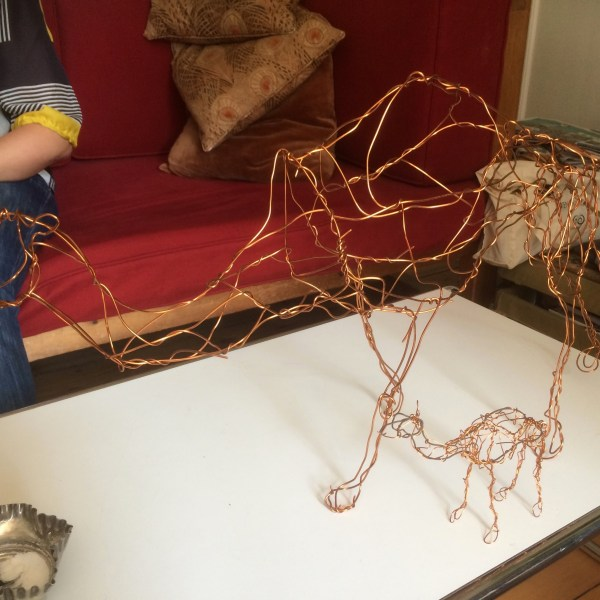 Camel sculptures in copper wire