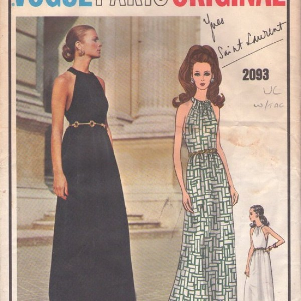 Vogue 2093 YSL halter neck dress