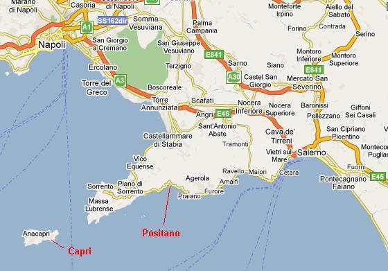 Amalfi coast map